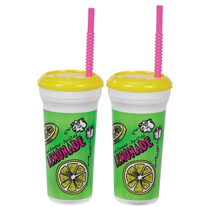 32oz Plastic Lemonade Cups with Straws 5306