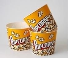 Plastic Popcorn Tubs Yellow Whirley - Jumbo Size