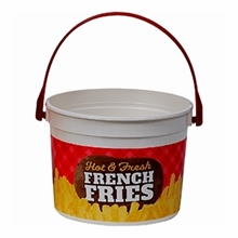 French Fry Bucket #2303 48 oz. Printed PLASTIC w/handle