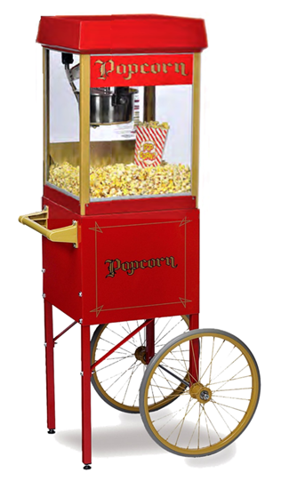 2404 & 26FunPop 4 oz. Popcorn Machine 2404 on Red Cart2649CR
